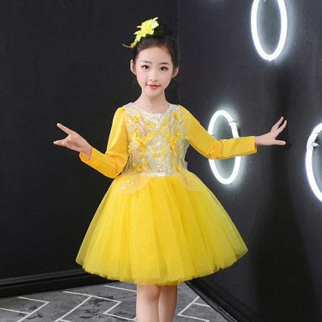 (預購)兒童演出服装黄色蓬蓬纱裙主持人表演服(I)