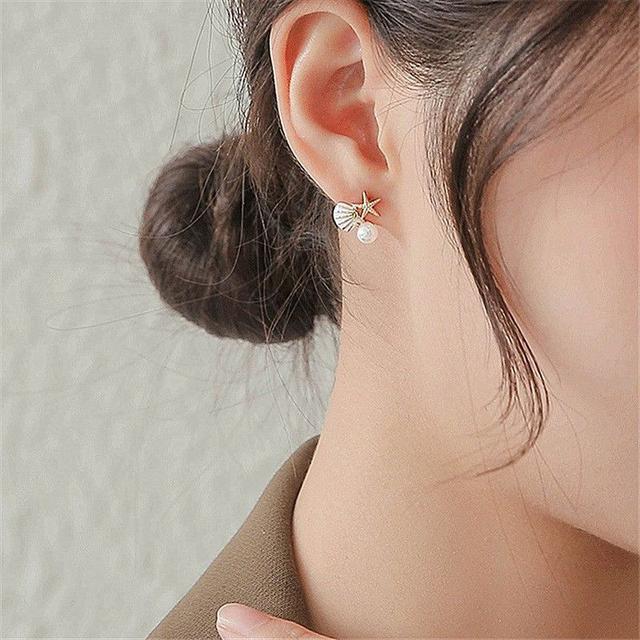 🌟現貨🌟正韓不對稱海洋風海星貝殼珍珠耳環