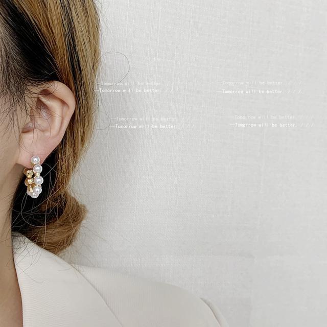 許願池少女~925銀針鍍14K復古vintage珍珠高級感耳飾女 耳環 耳釘