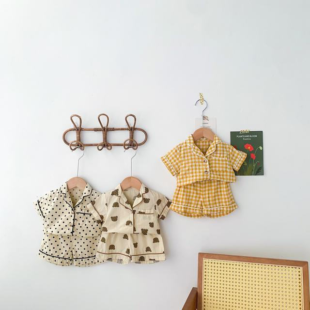 韓版童裝 卡通格子短袖套裝 兩件套