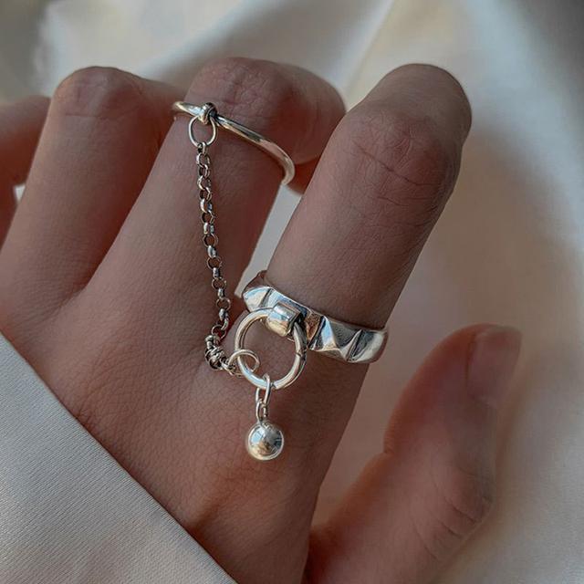 s925銀鏈條圓球雙環一體式戒指女小眾設計復古重工輕奢指環潮