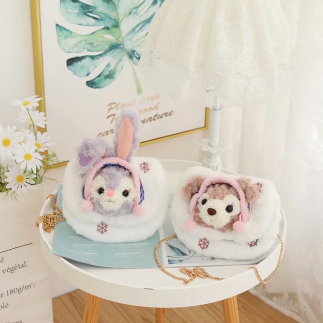 🌼日系可愛雪花款卡通兔子小熊斜挎包單肩包