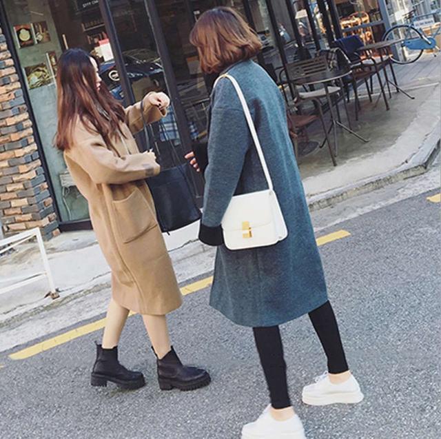 韓版優質毛呢長大衣