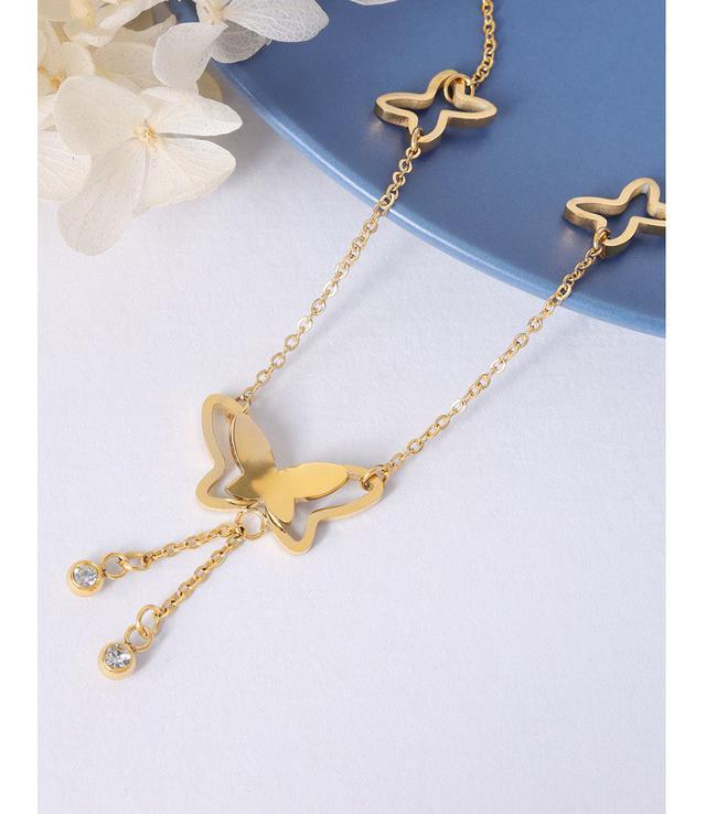 日韓IG風個性蝴蝶設計鑲嵌鋯石腳鏈鈦鋼18k金腳飾 chain飾品小眾