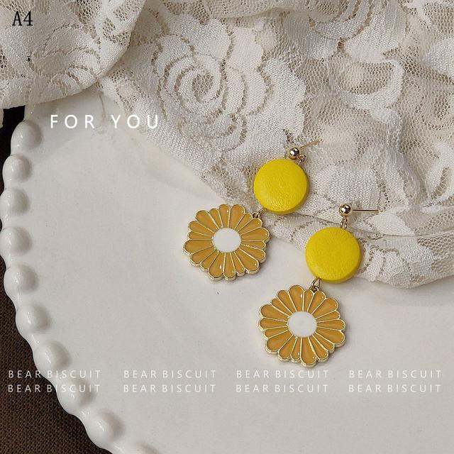 925銀創意設計氣質網紅滴釉雛菊花耳環 歐美耳飾 女清新唯美