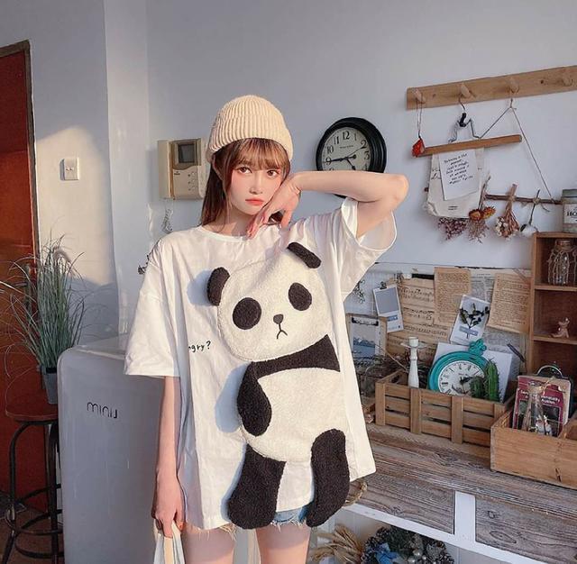(預購s+) D026-熊貓毛茸茸刺繡短袖T恤