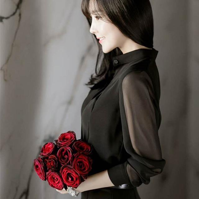 韓版雪紡透明手袖襯衫