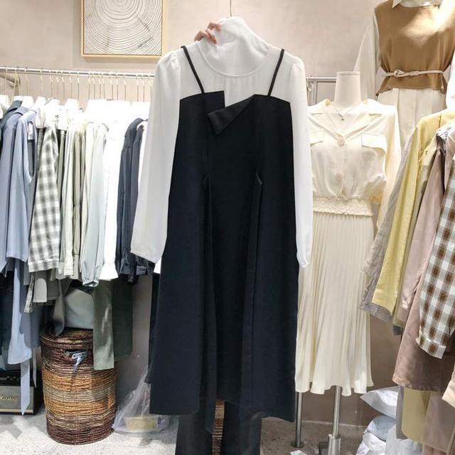 【預購】韓版假兩件修身洋裝