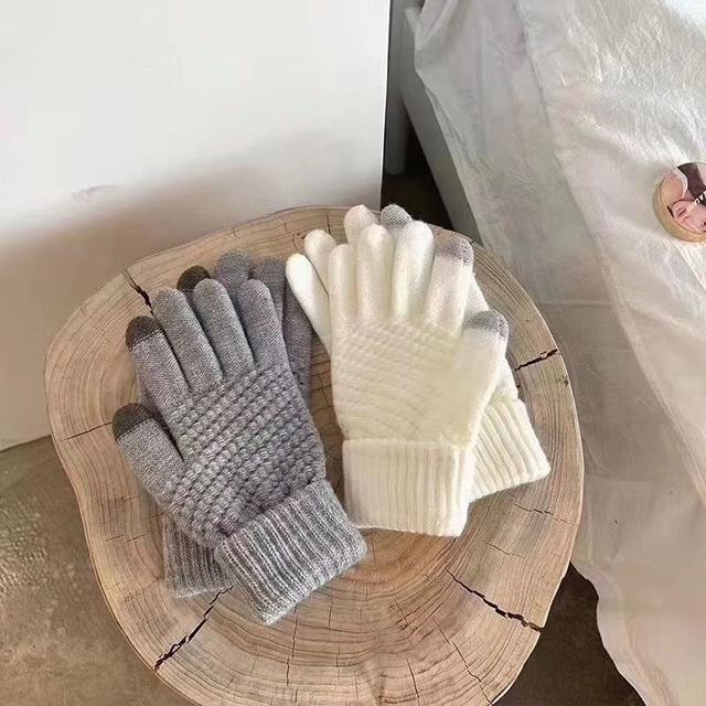 復古造型 麻花加絨可觸屏手套
