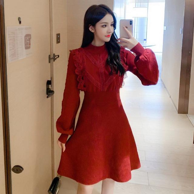T9E7832#秋裝法式收腰燈籠袖蕾絲花邊衣裙