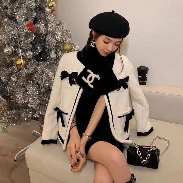 小香风蝴蝶结毛呢大小姐套装冬季新款时髦减龄外套
