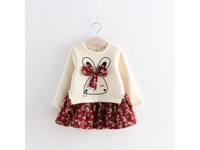 兒童兔子碎花拼接連衣裙