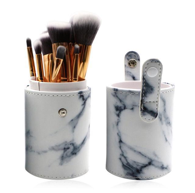 【代購】絕美大理石刷具10件組🔥方形化妝包 圓型收納桶