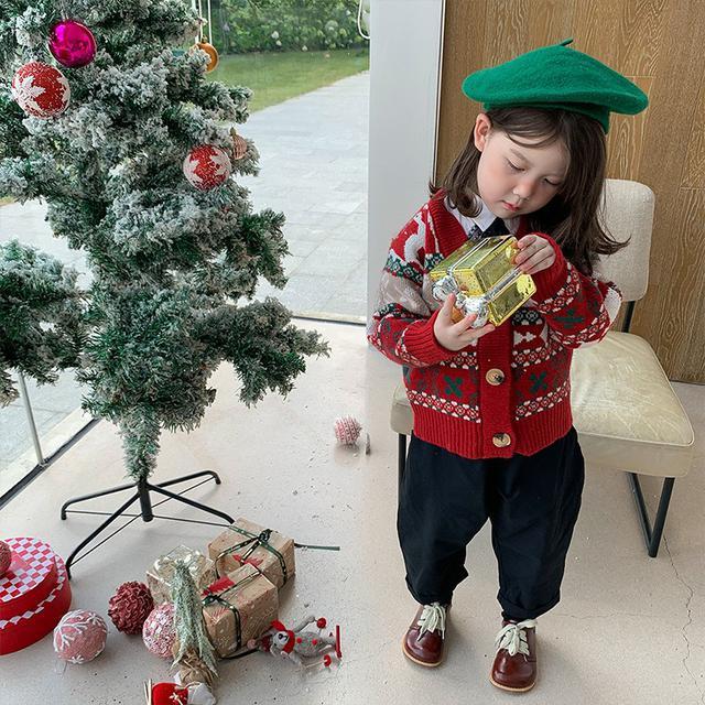 童針織開衫兒童秋裝衣新款聖誕外套春秋童裝洋氣秋冬毛衣