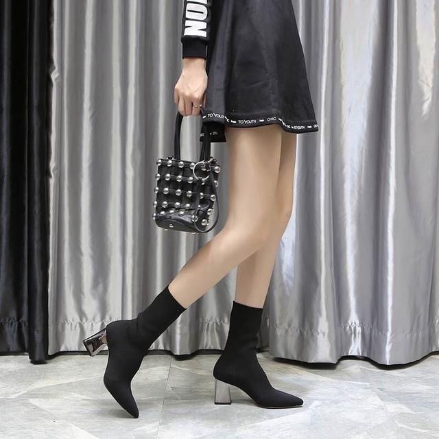 韓版時尚尖頭中筒襪套高跟馬靴