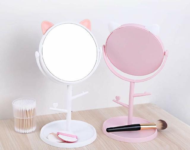 (預購s+) 可愛貓耳朵首飾收納化妝鏡