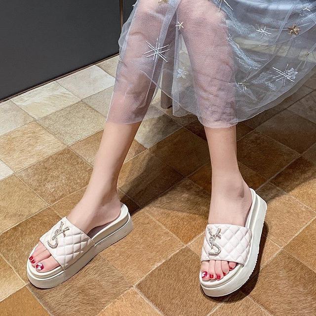 網紅拖鞋女夏外穿2020新款時尚百搭ins潮水鑽涼拖松糕厚底一字拖