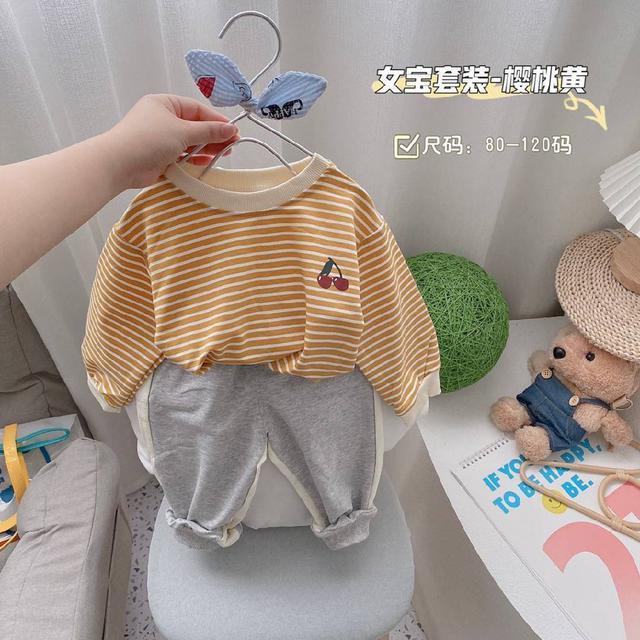 『秋冬-預購』櫻桃條紋套裝2件組
