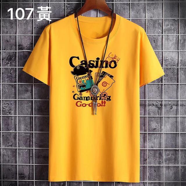 (107系列)100%純棉短袖T恤男士夏季2020新款韓版潮流寬松體恤衫上衣男衣服