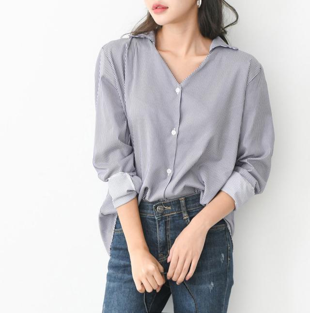 正韓條紋簡約襯衫(預購)
