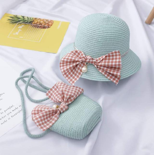 (預購s+) B017-女童沙灘遮陽帽+包包套組