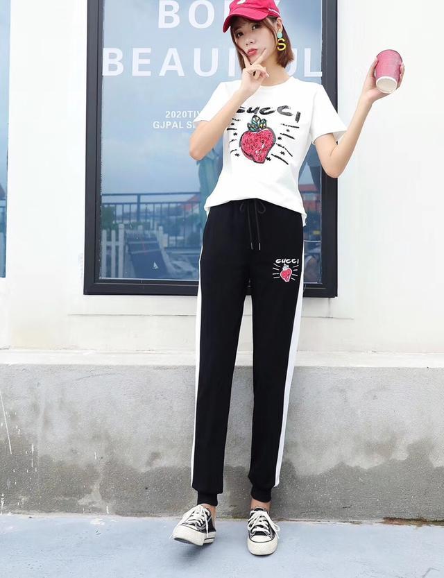 实拍2020夏新款G字母草莓🍓短袖套头棉上衣+松紧腰长裤时尚休闲运动套装两件套