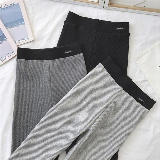 10 螺紋棉修身顯瘦彈力小腳九分打底褲 三色