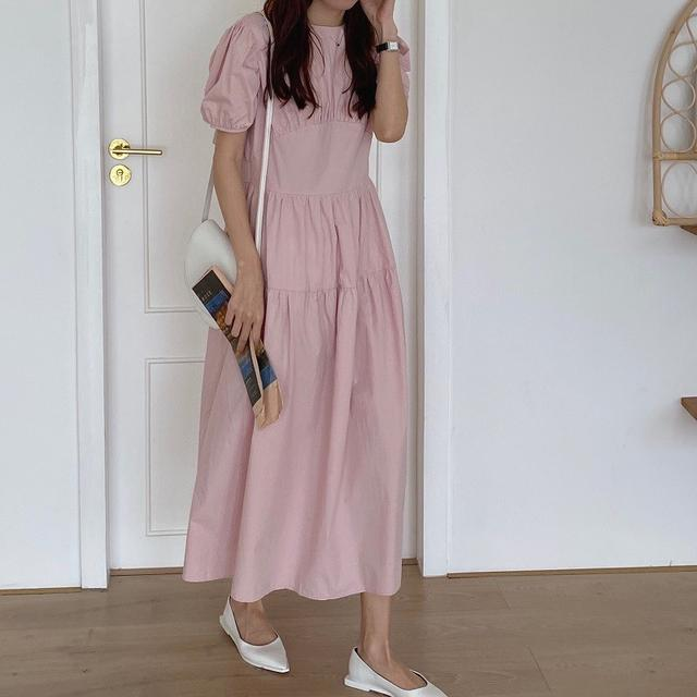 韓國chic法式優雅圆领顯瘦高腰長款過膝泡泡袖桔梗連衣裙(c)