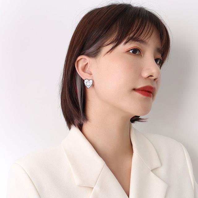 簡約熱銷不規則桃心鈦鋼鍍18真K金耳環層次耳飾配飾女