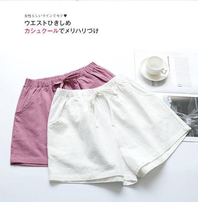 顯瘦棉麻鬆緊舒適短褲