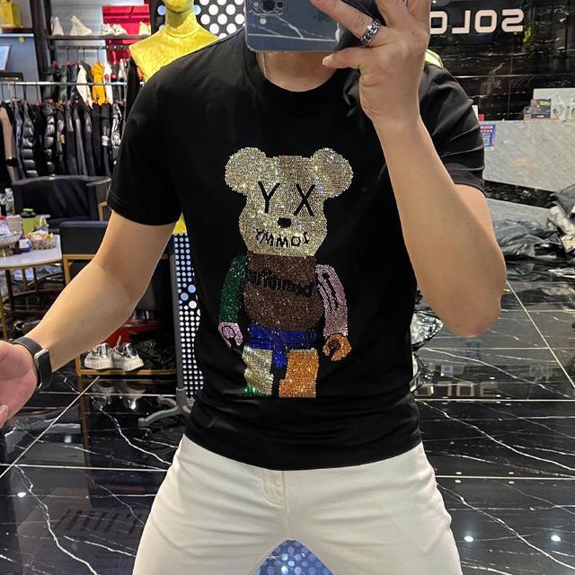 夏季新款短袖t恤男士圓領百搭修身上衣2021網紅ins貼布半袖潮