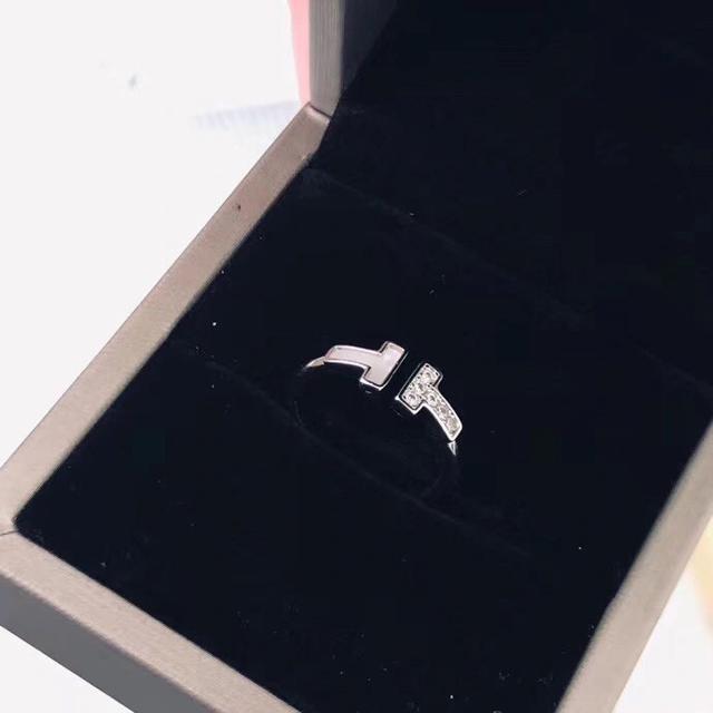 T家戒指女雙T開口鑲鑽明星同款潮酷個性時尚簡約純銀食指戒 材質925銀
