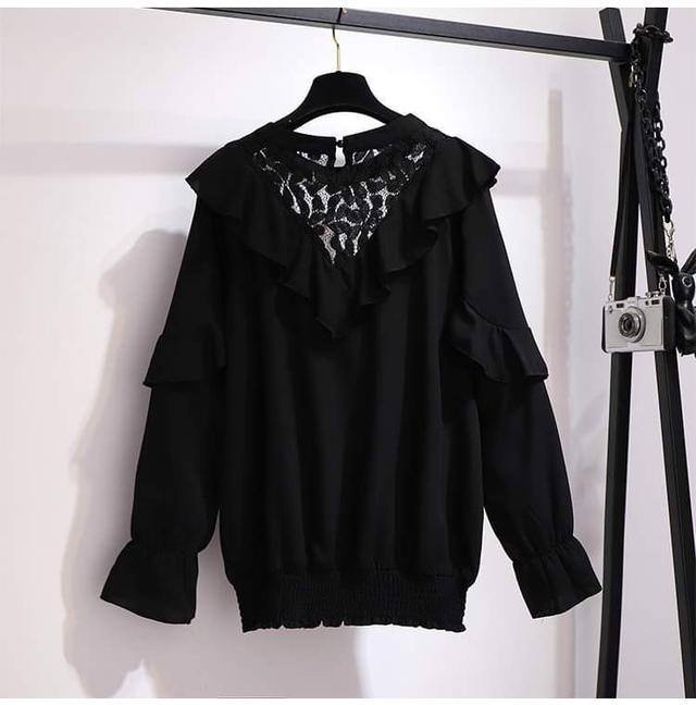 【預購】荷葉領雪紡衫(大碼)