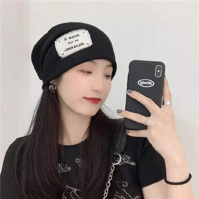 (預購s+) E046-出街日系貼布輕薄透氣堆堆帽