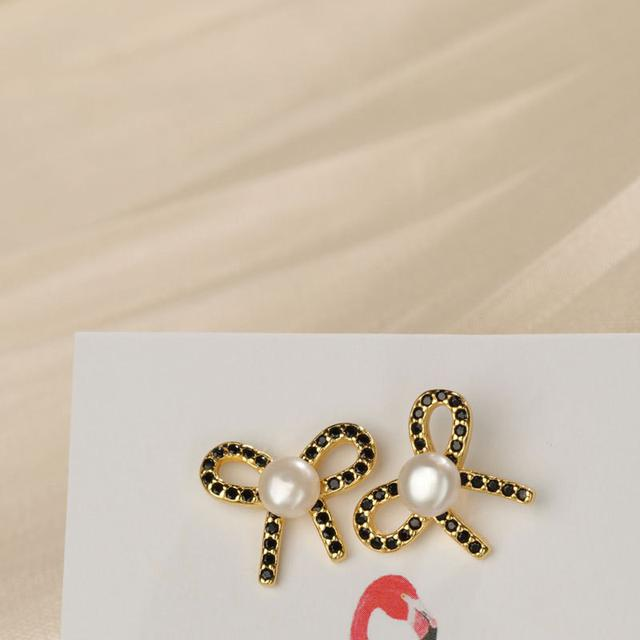 S925純銀蝴蝶結珍珠耳釘輕奢感法式復古耳環氣質優雅耳飾女潮