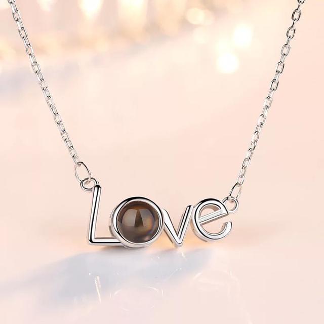 我愛你投影項鍊-鈦鋼