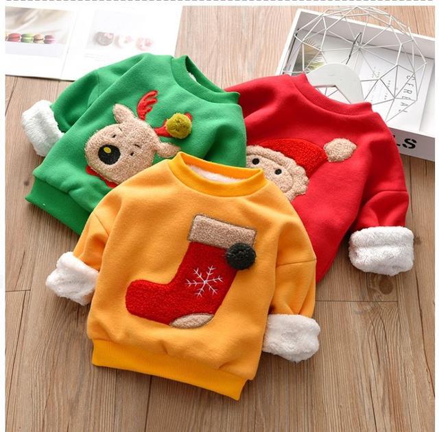 兒童 聖誕風圓領加絨保暖上衣 TP19005