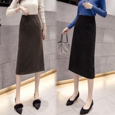 11/20 S-XL 復古純色高腰毛呢包臀半身裙(2色)