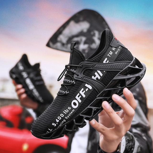 跑步鞋透氣飛織網刀鋒運動鞋鞋休閒百搭小白鞋軟底舒適小黑鞋子