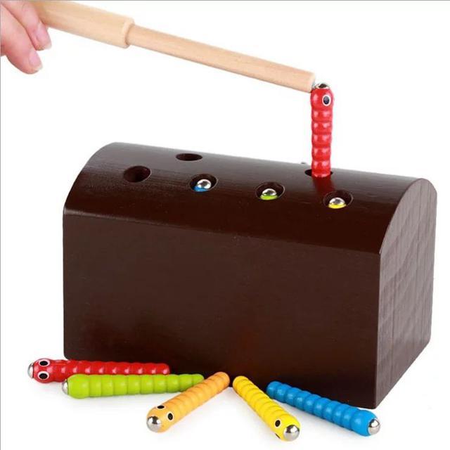 幼兒童男女孩磁性釣魚抓蟲遊戲親子啟蒙木質LSJ19072403
