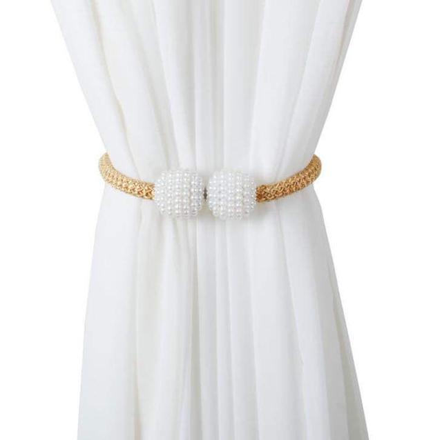 (預購S)歐式珍珠磁吸窗簾扣綁帶一對裝(兩個)