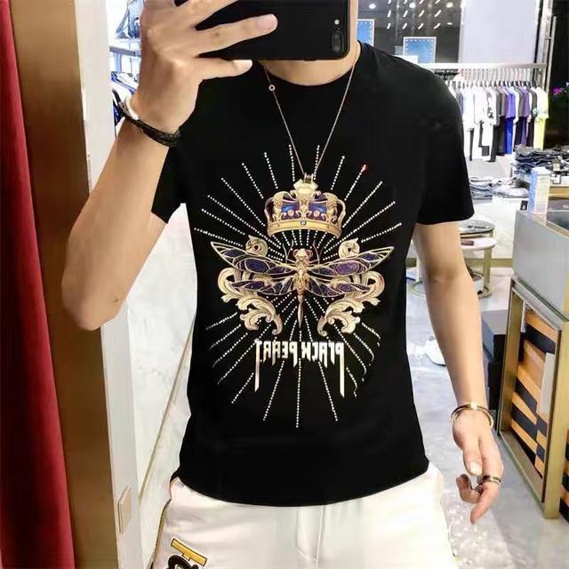 2020网红潮牌欧洲站夏季男装短袖T恤5D炫彩镭射烫贴T恤  最新爆款