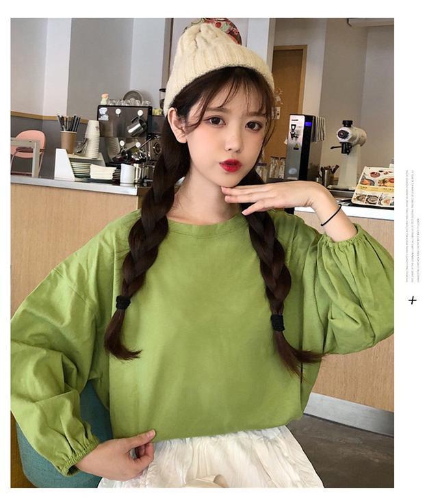 韓版女生心機新款短款素色學生長袖t恤 /2020春季2019秋季純色女ins打底衫上衣