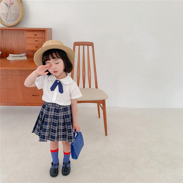 韓國童裝批發2021女童學院風短袖襯衫+百褶裙