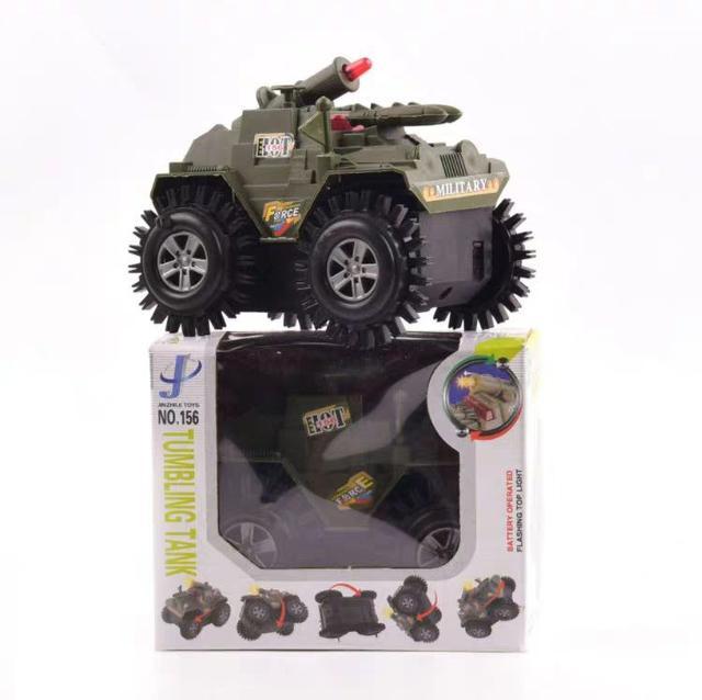 儿童礼物男孩电动闪光特技翻斗车坦克军事模型LSJ19072509
