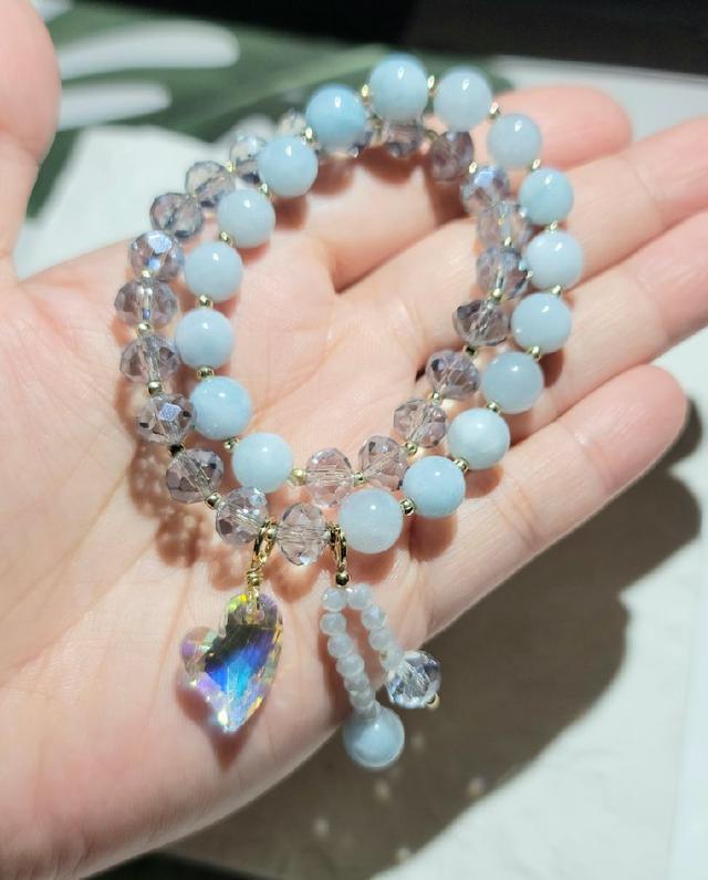 -晶妍 手作飾品- 海藍寶+奧地利水晶 雙圈手環 YH5080-21