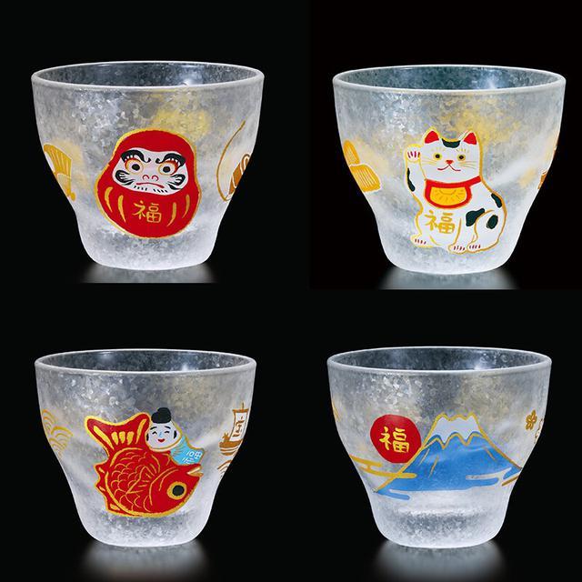 日本製 吉祥招福系列 玻璃清酒杯