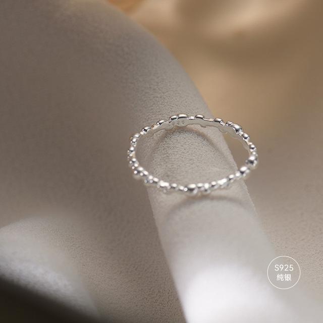 純銀戒指女小眾設計簡約氣質不規則圓點食指可調節指環手飾女