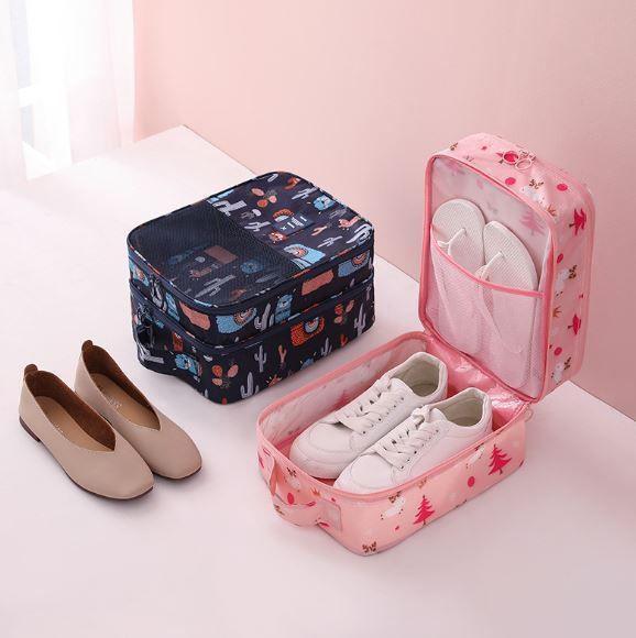 粉嫩圖案鞋子隨身收納袋