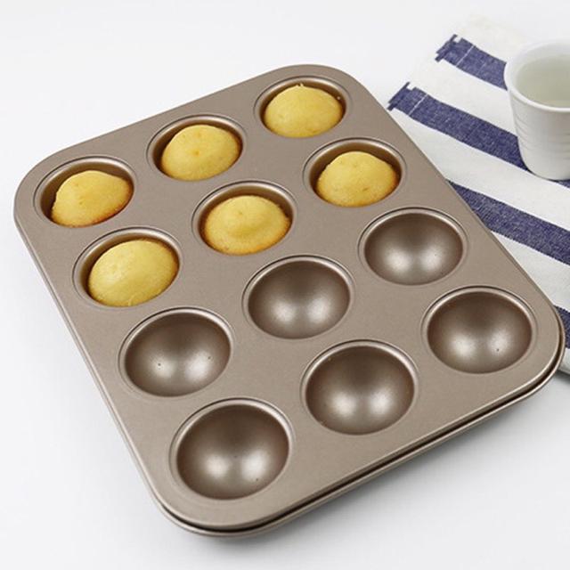 12連半圓蛋糕模 6連 不粘碳鋼蛋糕模 DIY烘焙模具 半圓雪媚娘模具 半圓球 迷你蛋糕球模具